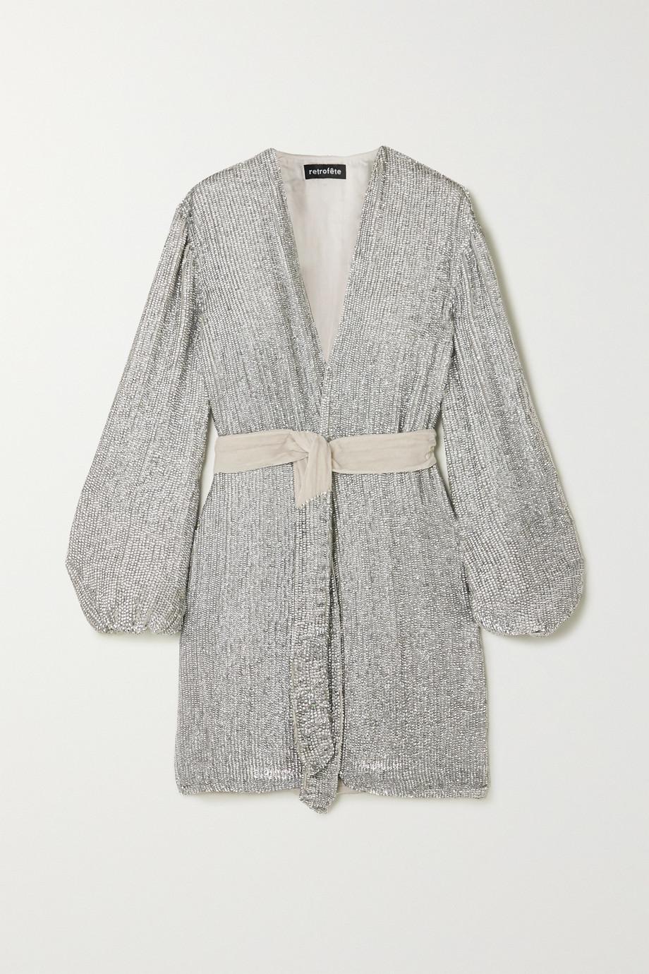 Retrofête Gabrielle velvet-trimmed sequined chiffon mini wrap dress