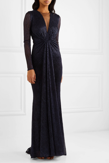Knotted tulle-trimmed metallic voile gown