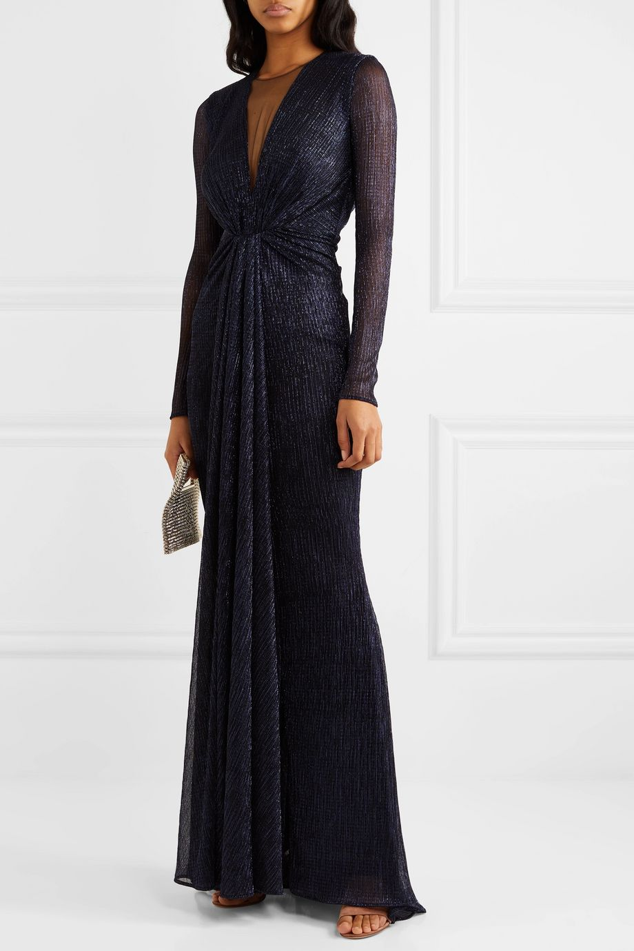 Talbot Runhof Knotted tulle-trimmed metallic voile gown