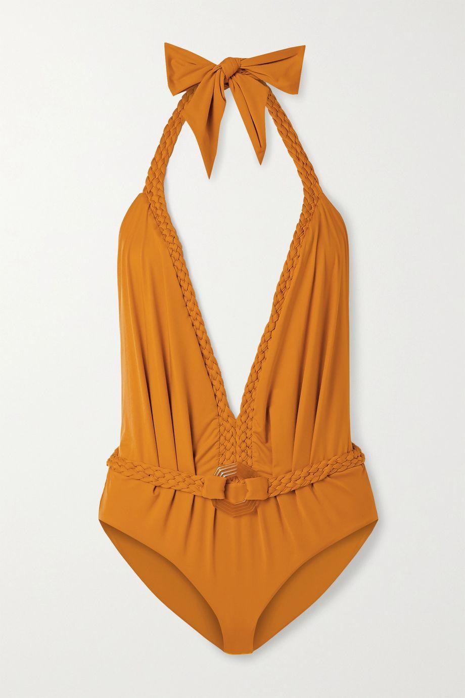 Johanna Ortiz Romantic Sun braid-detailed halterneck swimsuit