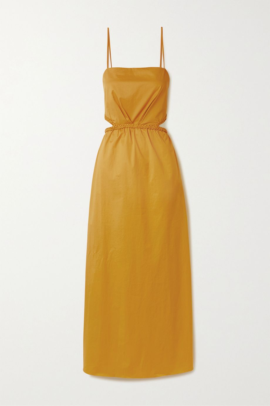Johanna Ortiz Ancient Sunrise braid-detailed cutout cotton-blend poplin maxi dress