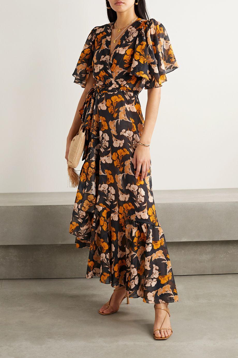 Johanna Ortiz Floral-print cotton-voile wrap dress