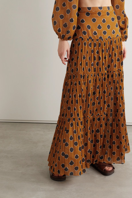 Tiered printed cotton-voile maxi skirt