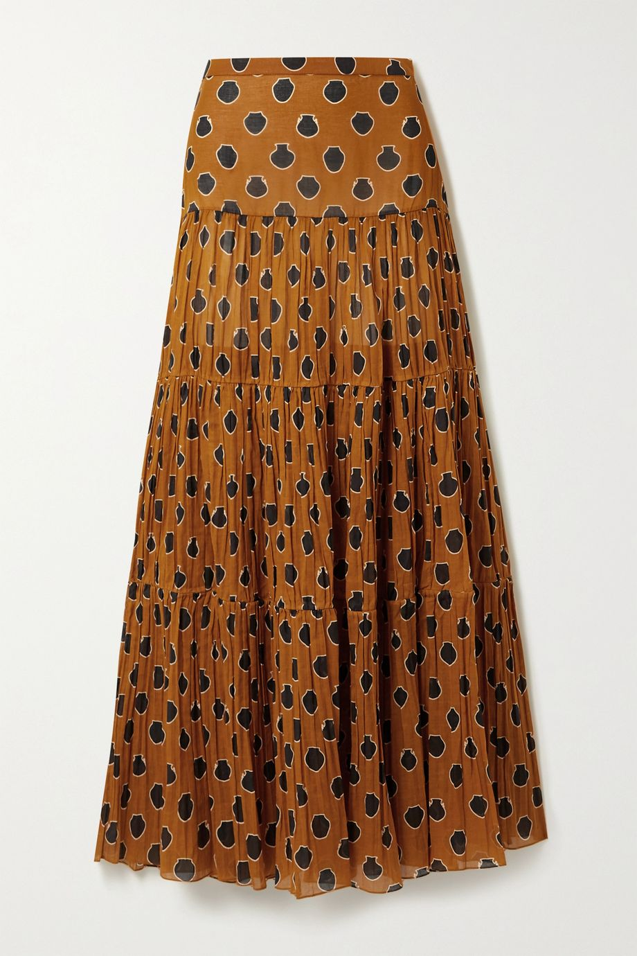 Johanna Ortiz Tiered printed cotton-voile maxi skirt