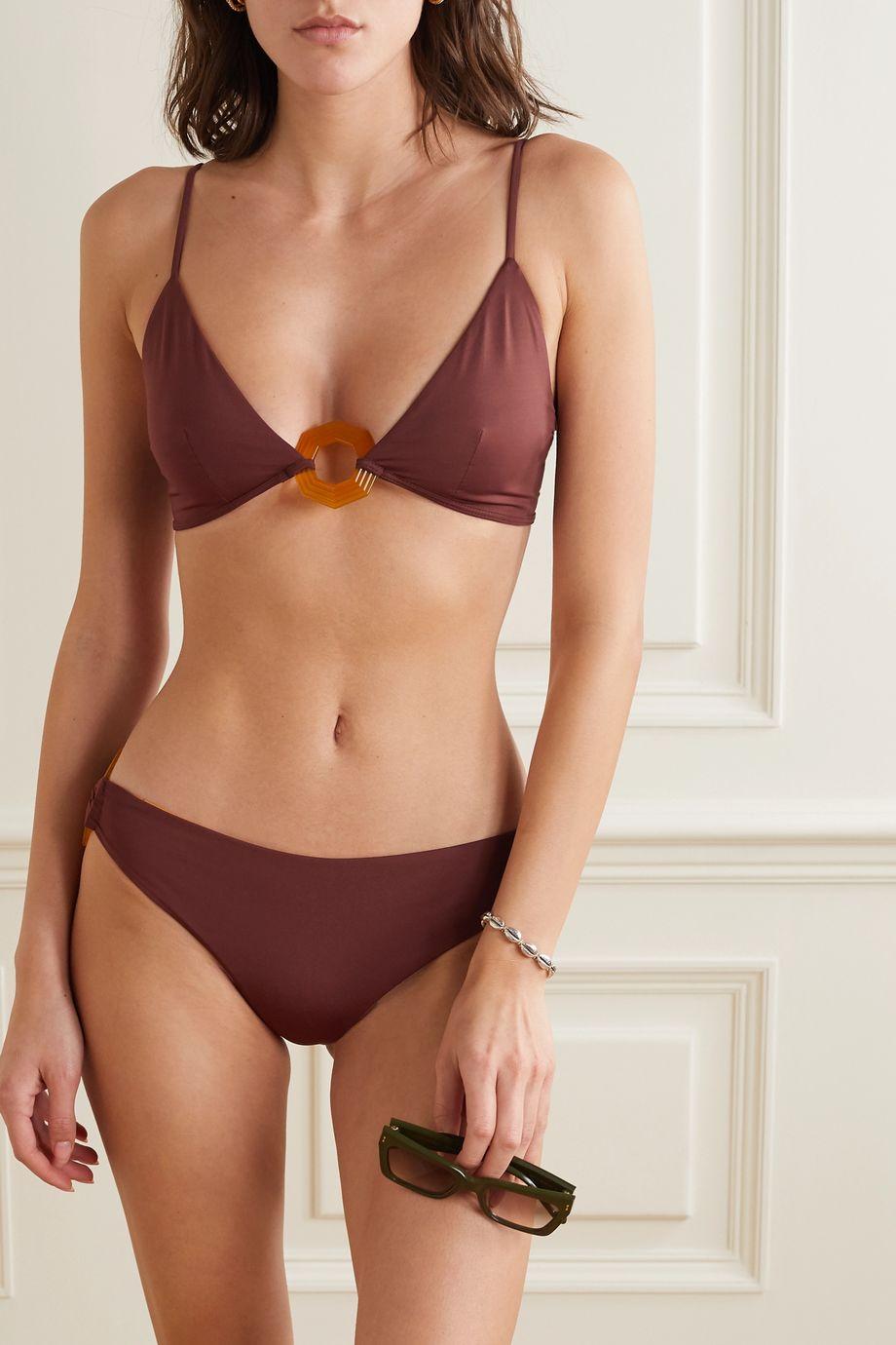 Johanna Ortiz Delta embellished triangle bikini top