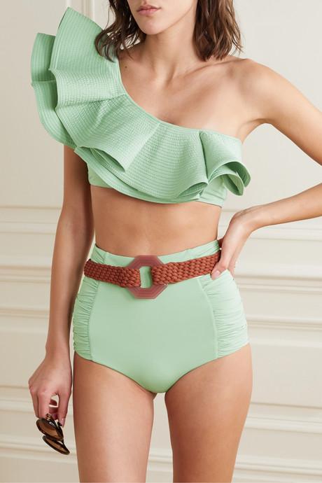 Watercolor one-shoulder ruffled bikini top