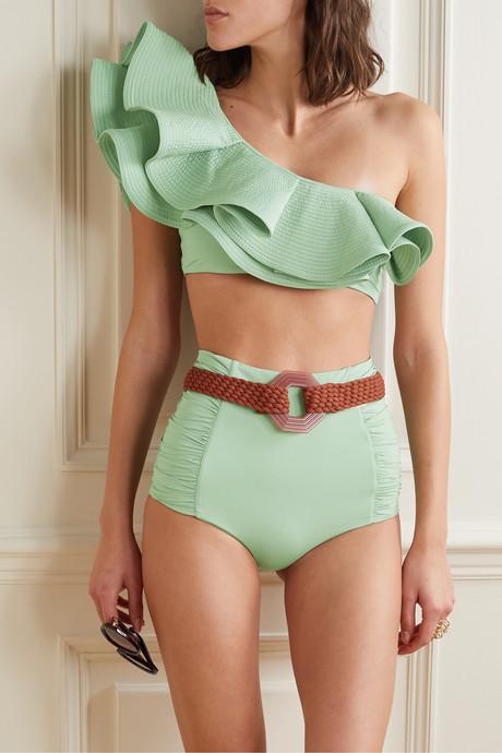 Captivation belted ruched bikini briefs
