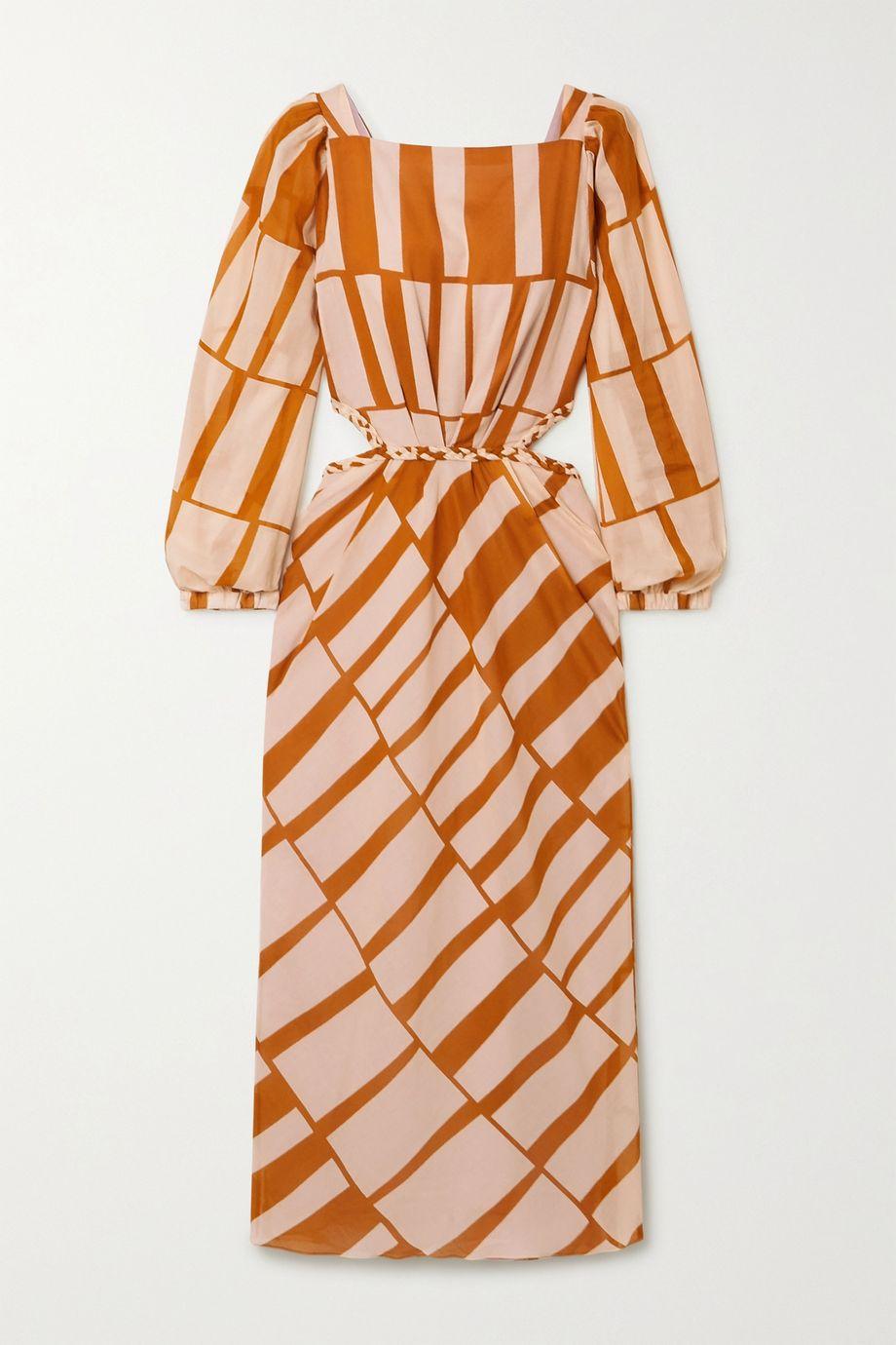 Johanna Ortiz Illusion Of Time cutout printed cotton-voile midi dress