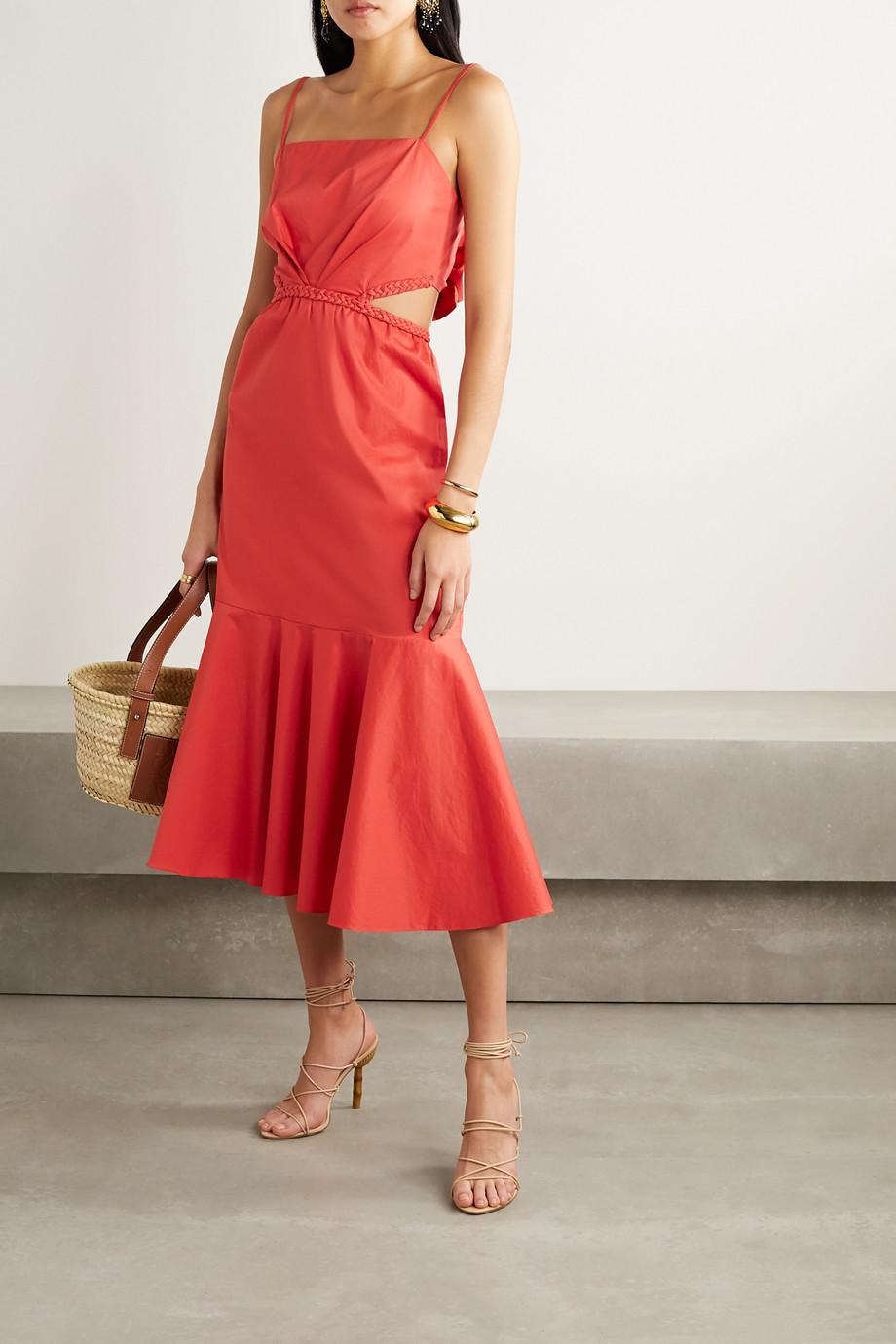 Johanna Ortiz Summer Luck cutout cotton-blend poplin midi dress