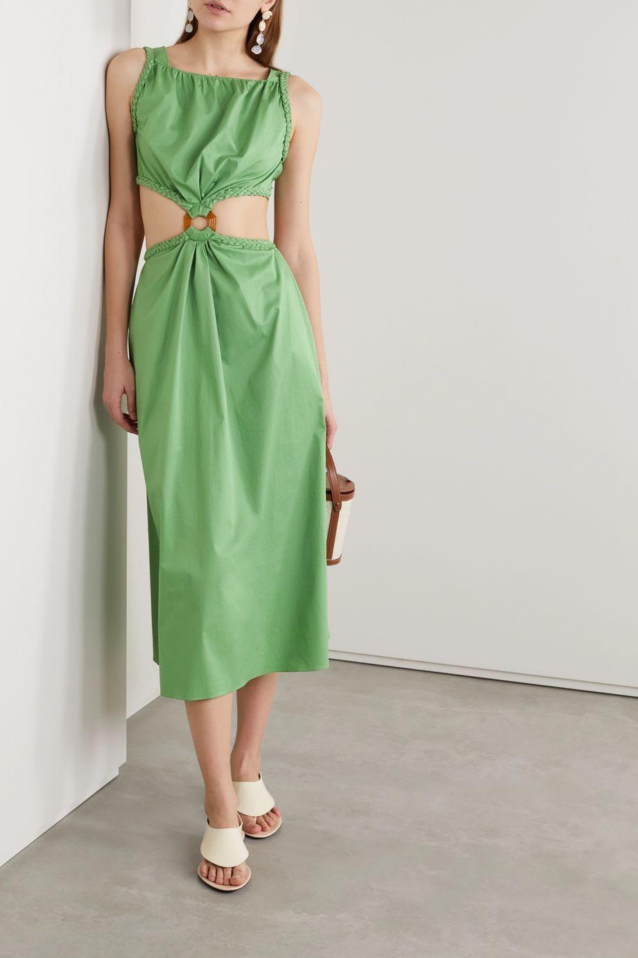 Johanna Ortiz Rowboat cutout stretch-cotton poplin midi dress