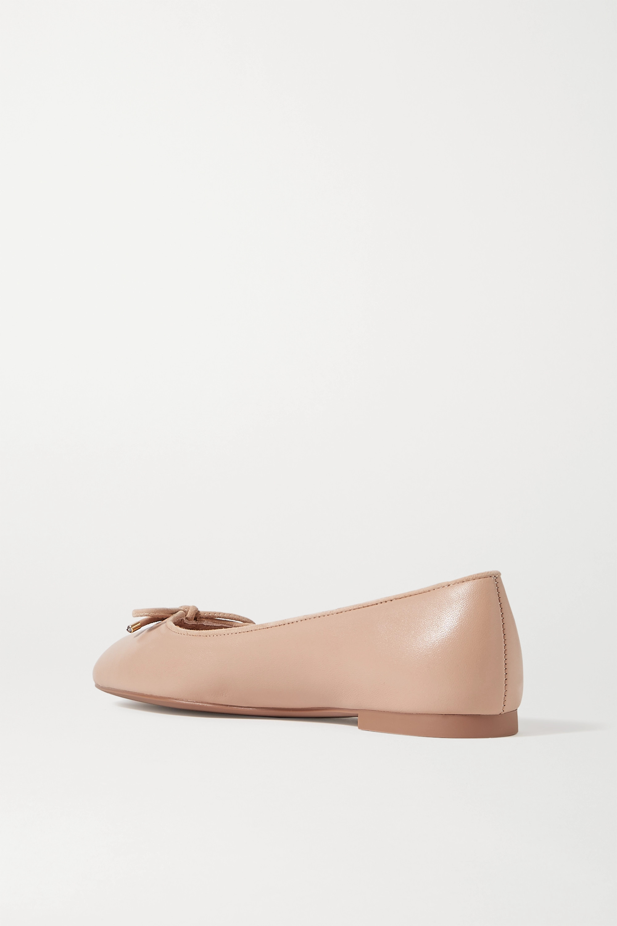 Stuart Weitzman Gabby bow-embellished suede-trimmed leather ballet flats