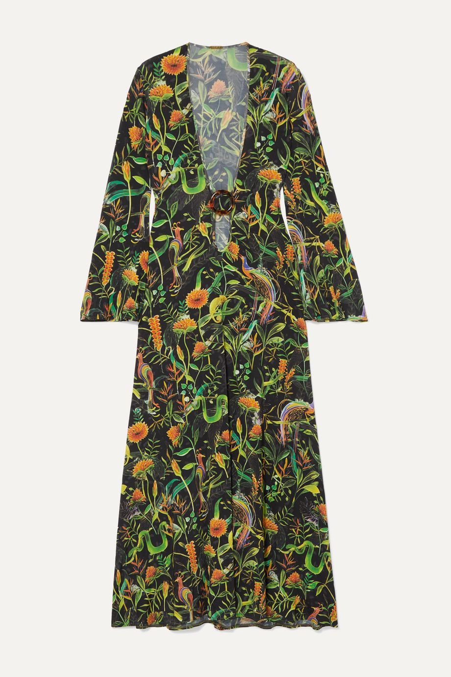 Dodo Bar Or + Annabel's cutout printed stretch-jersey midi dress