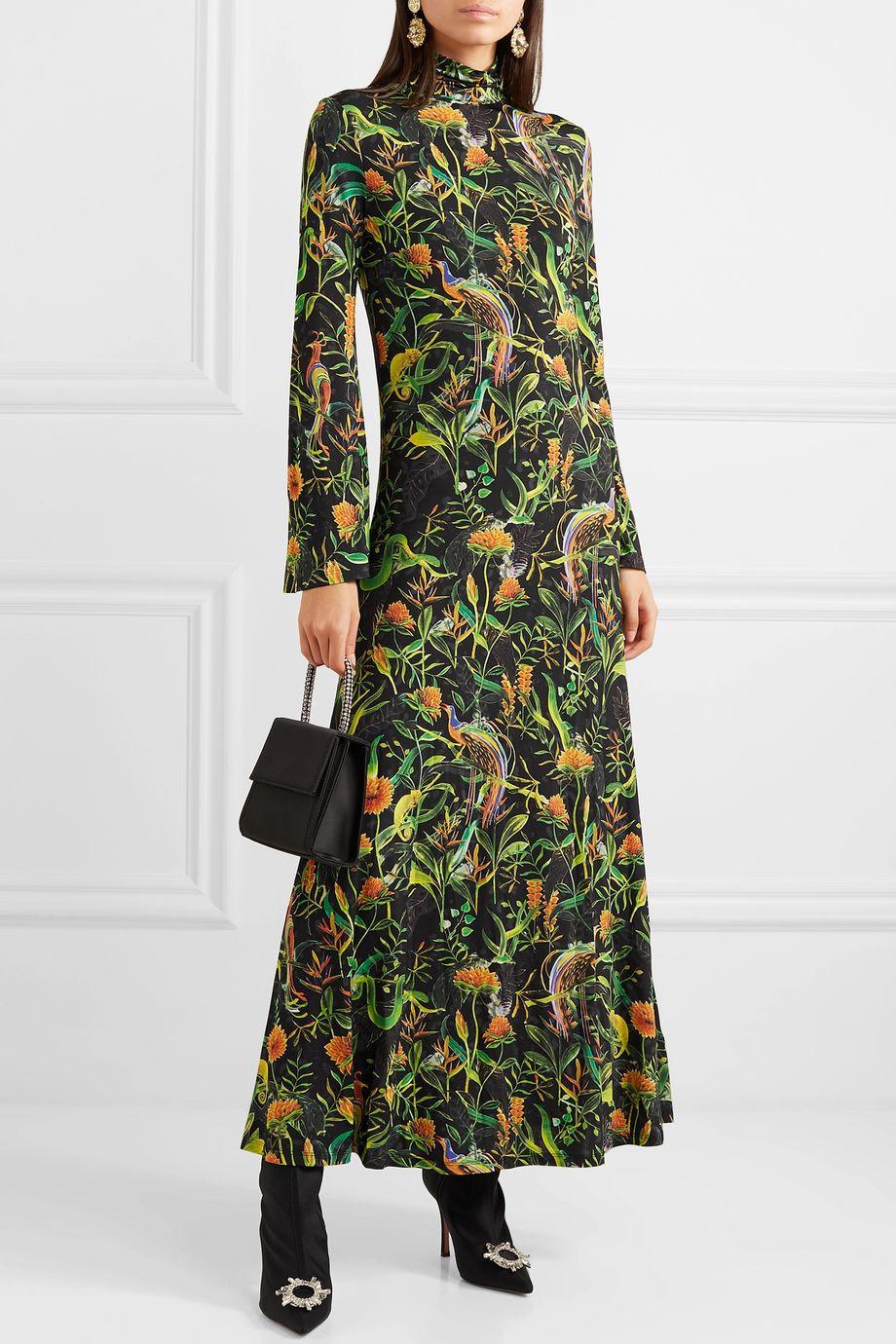 Dodo Bar Or + Annabel's printed stretch-jersey turtleneck midi dress