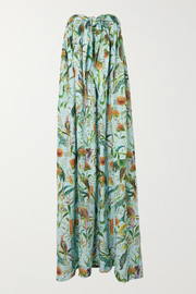 Dodo Bar Or + Annabel's strapless printed cotton maxi dress