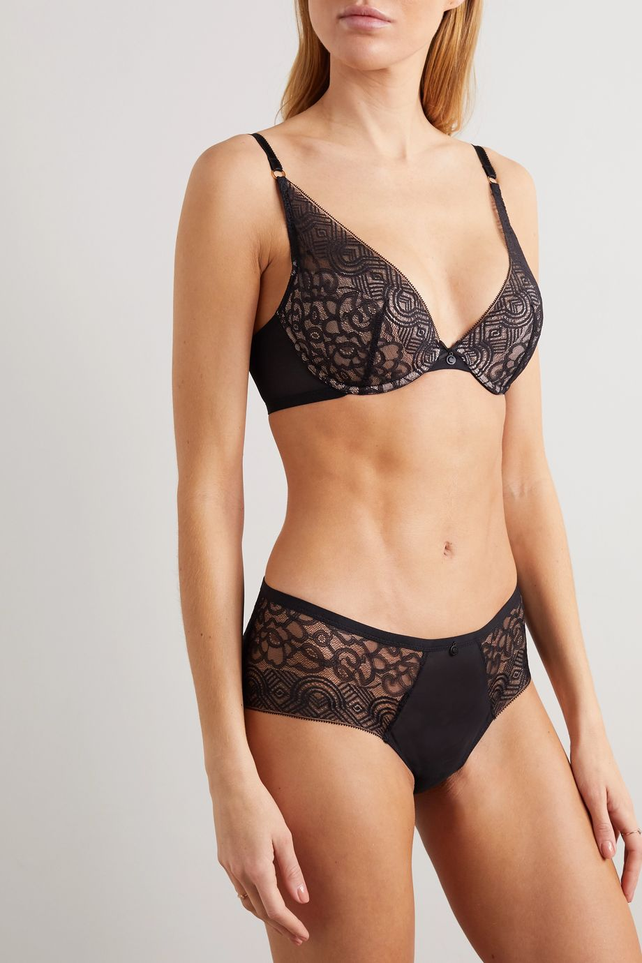 Chantelle Dusk stretch-tulle and lace padded underwired plunge bra