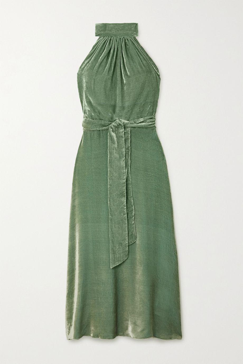 HARMUR Velvet halterneck wrap midi dress