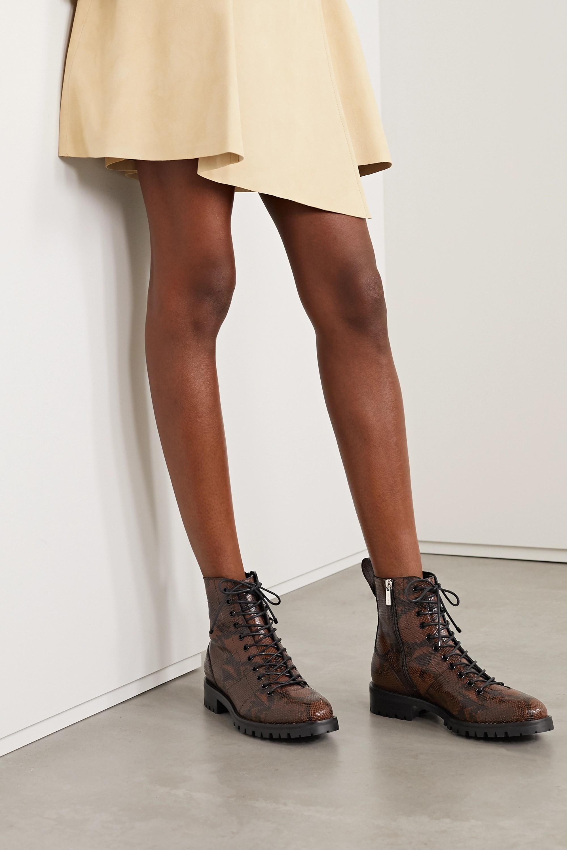 Jimmy Choo + Kaia Gerber Cruz snake-effect leather ankle boots