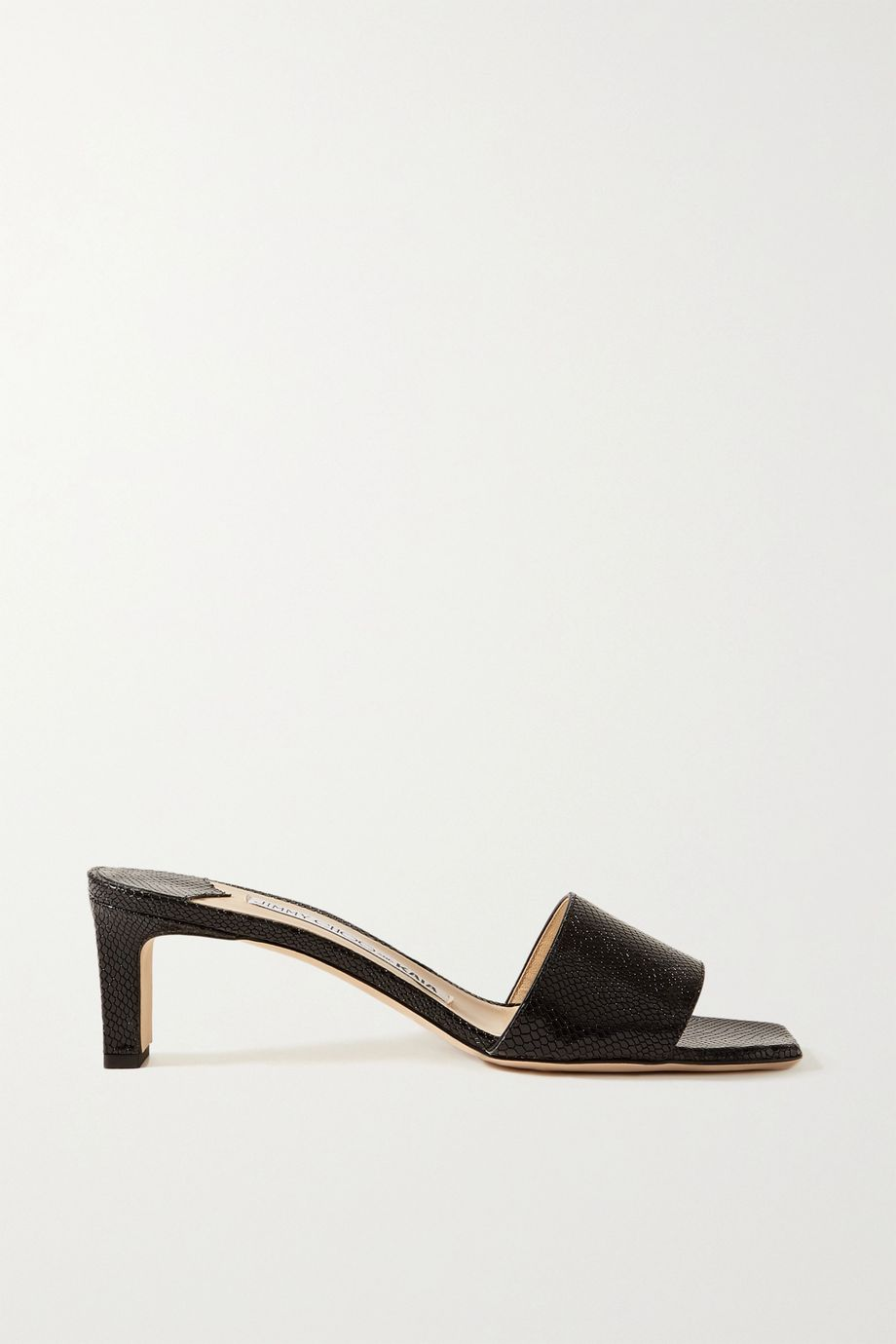 Jimmy Choo + Kaia Gerber 45 lizard-effect leather mules