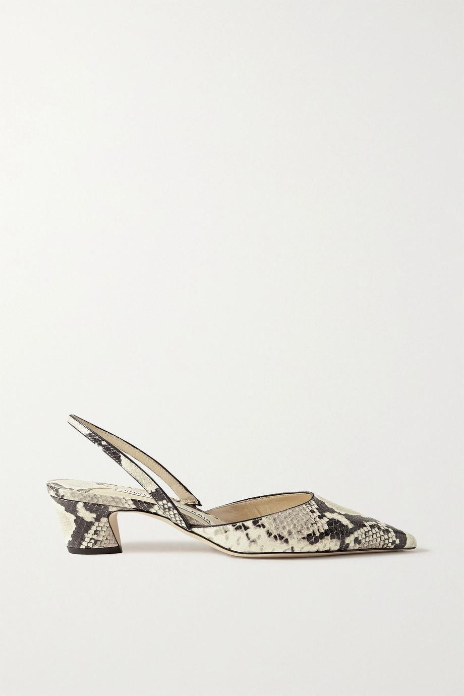 Jimmy Choo + Kaia Gerber 40 snake-effect leather slingback pumps