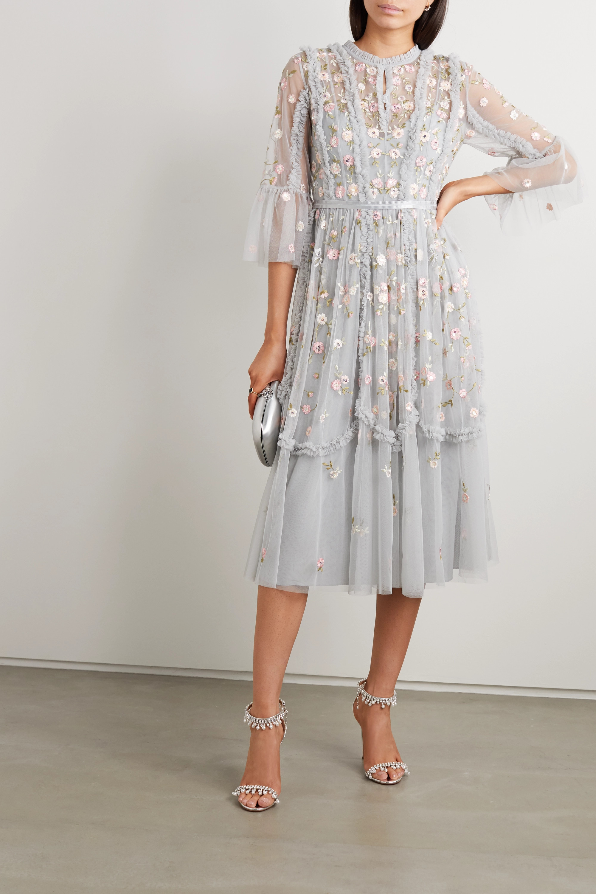 Wallflower ruffled embellished embroidered tulle dress