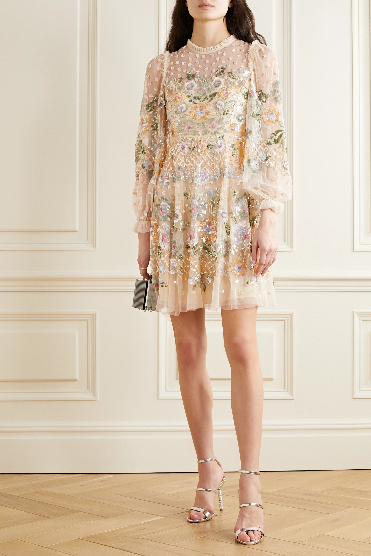 Rosalie ruffled sequin-embellished tulle mini dress