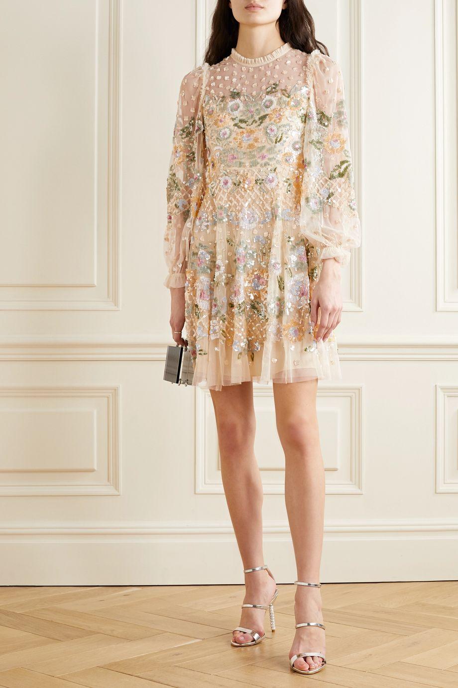 Needle & Thread Rosalie ruffled sequin-embellished tulle mini dress