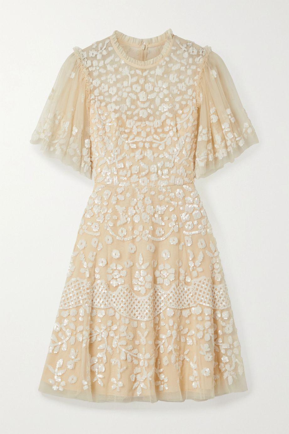 Needle & Thread Honesty Flower sequined tulle mini dress