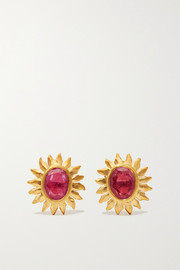 Pippa Small 18-karat gold ruby earrings
