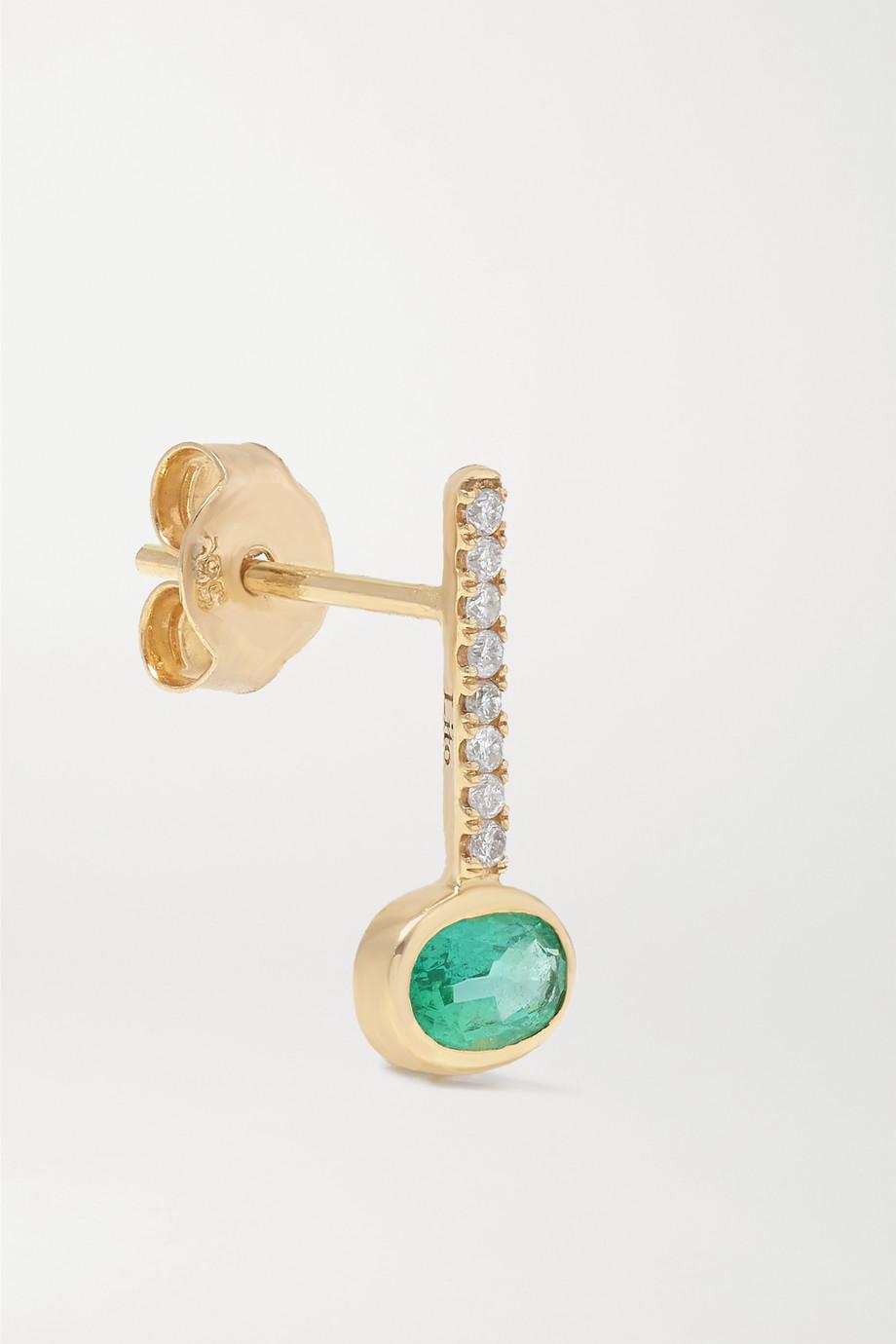 Lito Ohrring aus 14 Karat Gold mit Smaragd und Diamanten