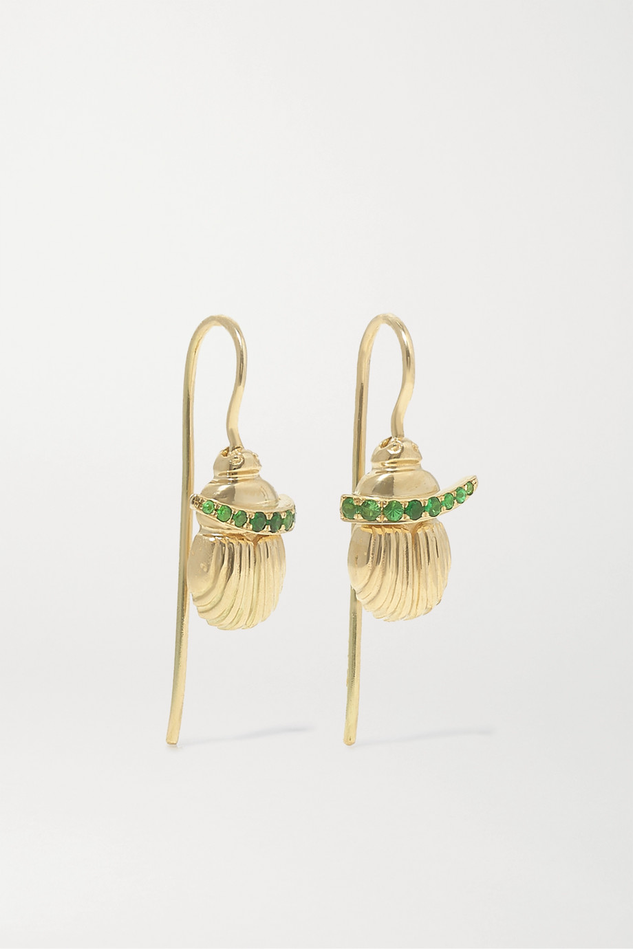 Lito Franca 14-karat gold tsavorite earrings