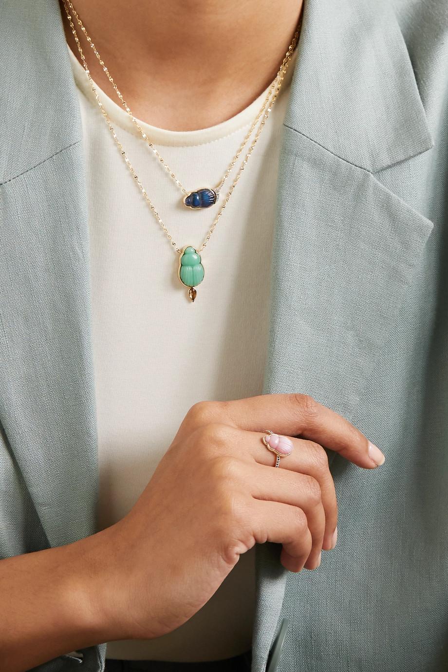 Lito Small Livia Ring aus 14 Karat Gold mit Opal und Diamanten