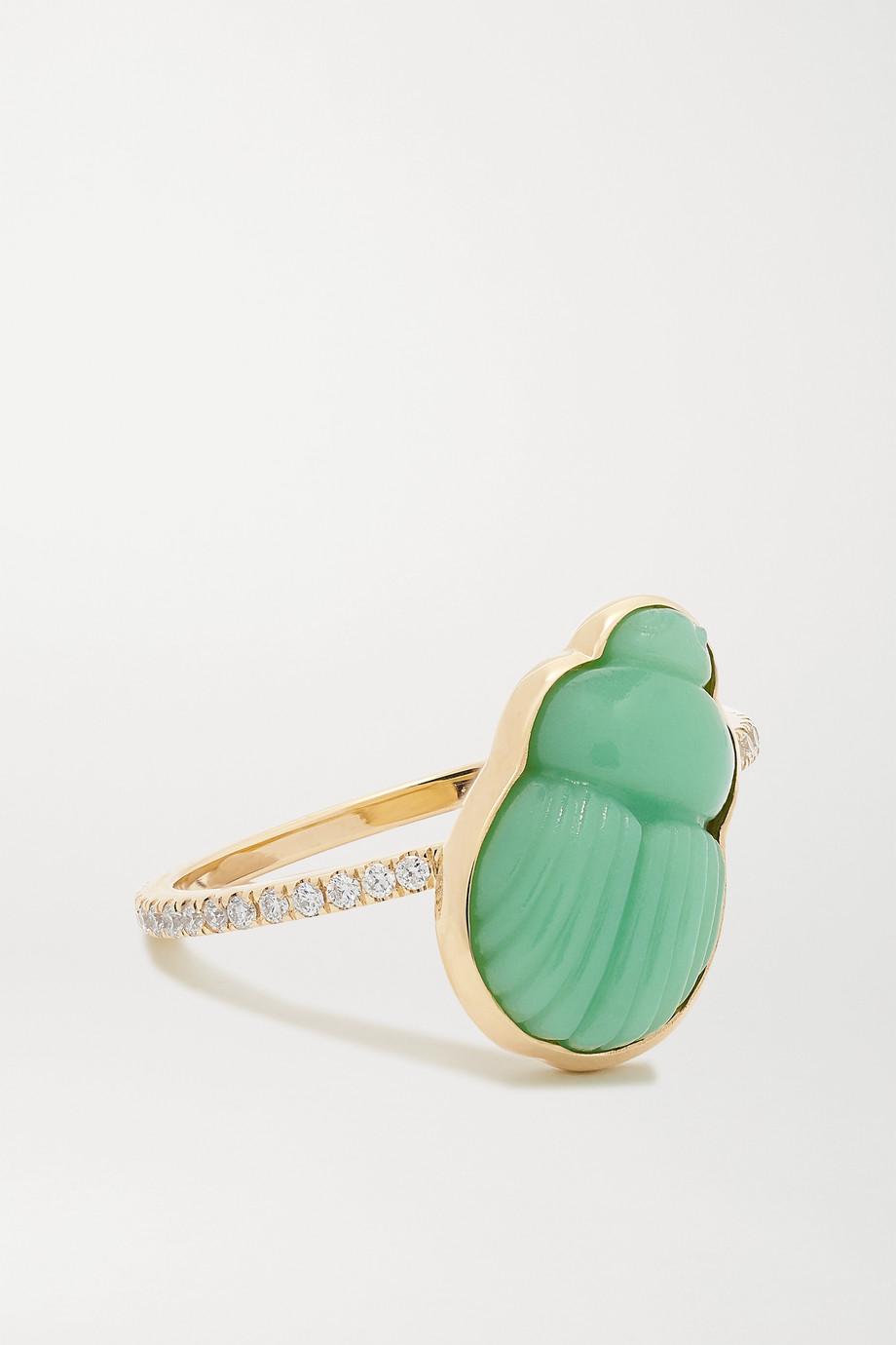 Lito Small Daria 14-karat gold, chrysoprase and diamond ring