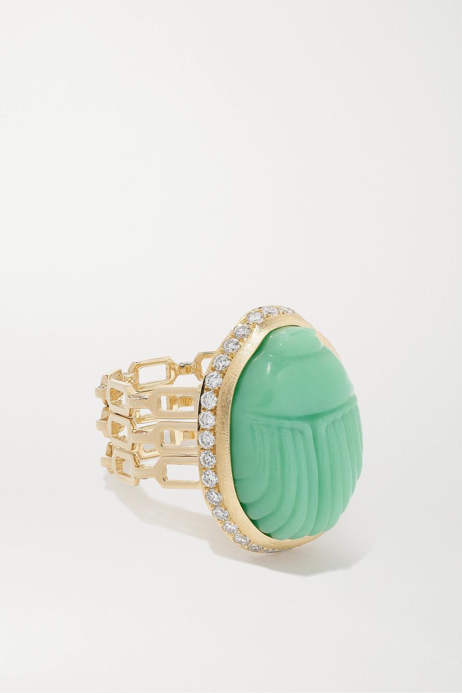 Lito Big Agata Ring aus 14 Karat Gold mit Chrysopras und Diamanten