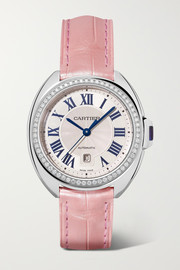 Clé de Cartier Automatic 34.11mm stainless steel, alligator and diamond watch