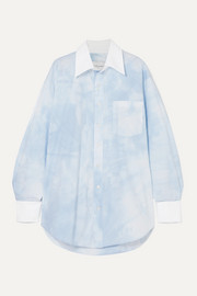 Oversized tie-dyed cotton-blend poplin shirt