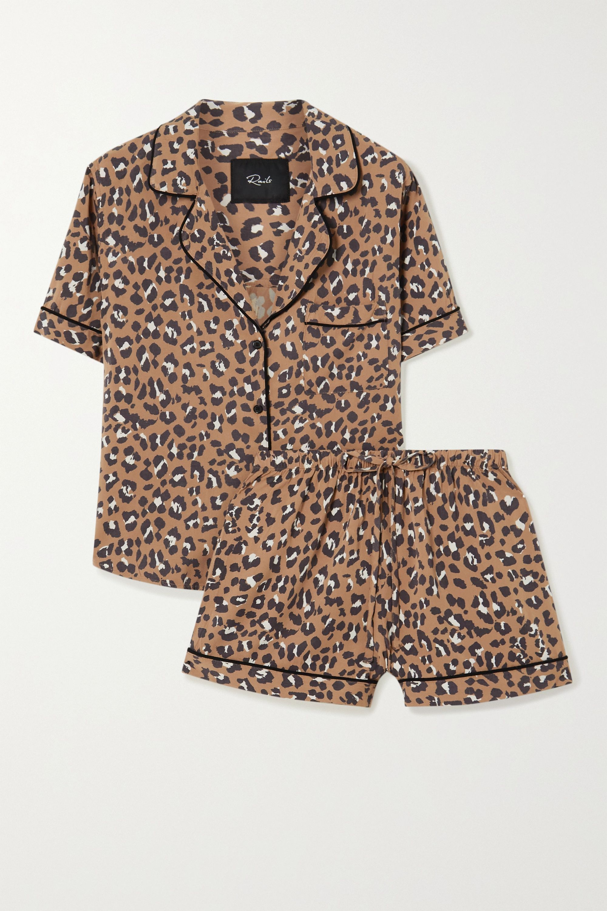 Rails Darcie leopard-print twill pajama set