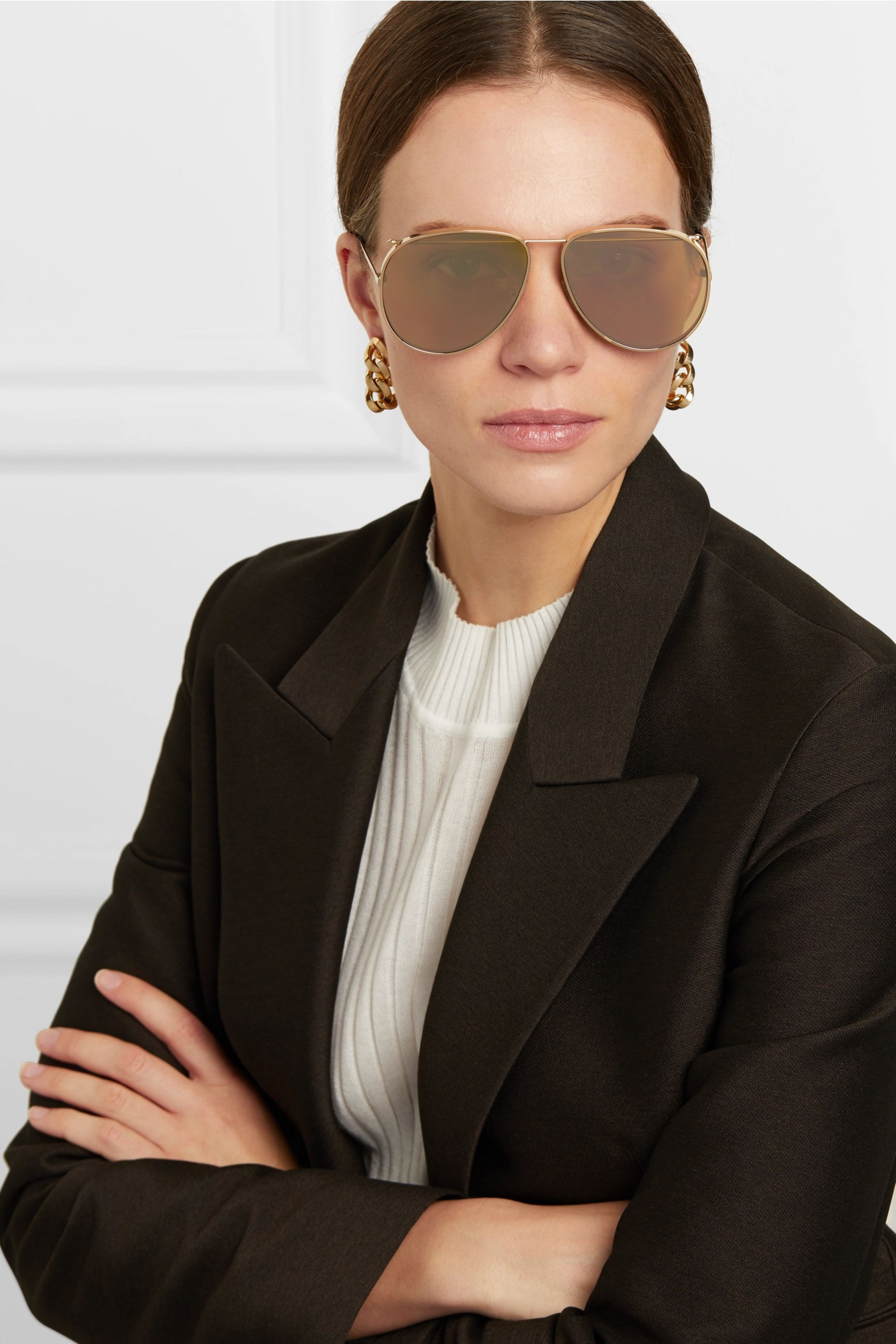 Alexander McQueen Piercing aviator-style gold-tone mirrored sunglasses