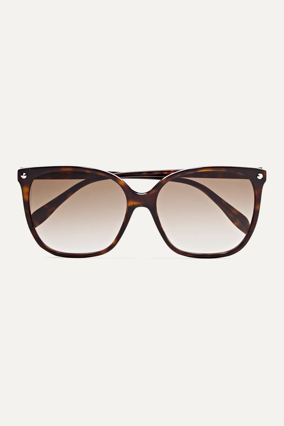 Alexander McQueen Lunettes de soleil carrées en acétate effet écaille Rivets