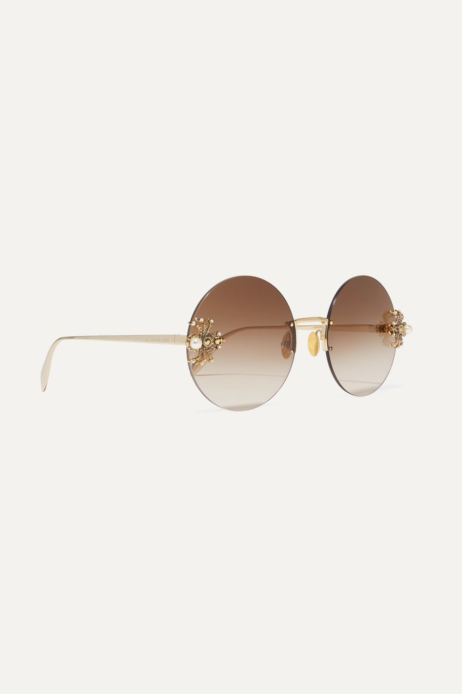Alexander McQueen Embellished round-frame gold-tone sunglasses