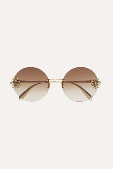 embellished-round-frame-gold-tone-sunglasses by alexander-mcqueen