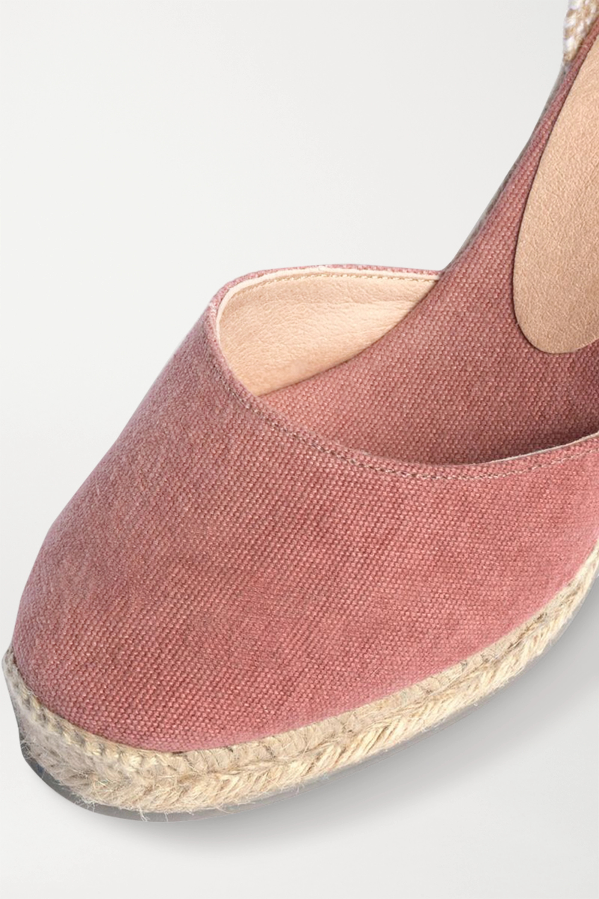 Antique Rose + Net Sustain Carina 80 Canvas Wedge Espadrilles | Castañer