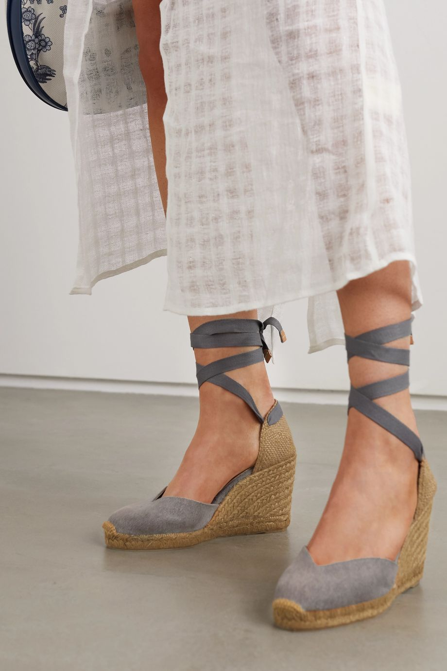 Castañer + NET SUSTAIN Chiara 80 canvas wedge espadrilles