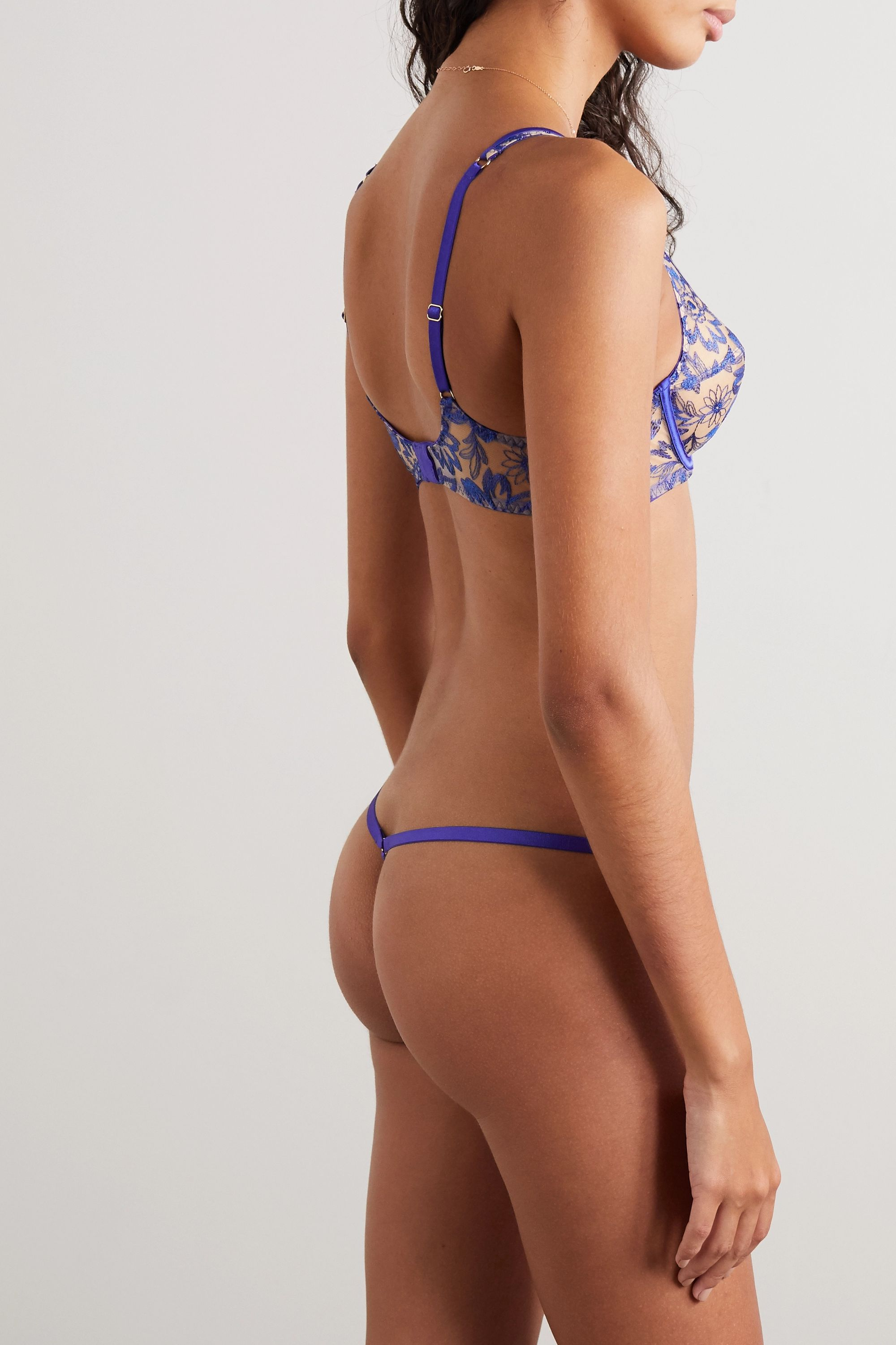 Myla Colombia Road satin-trimmed embroidered tulle thong