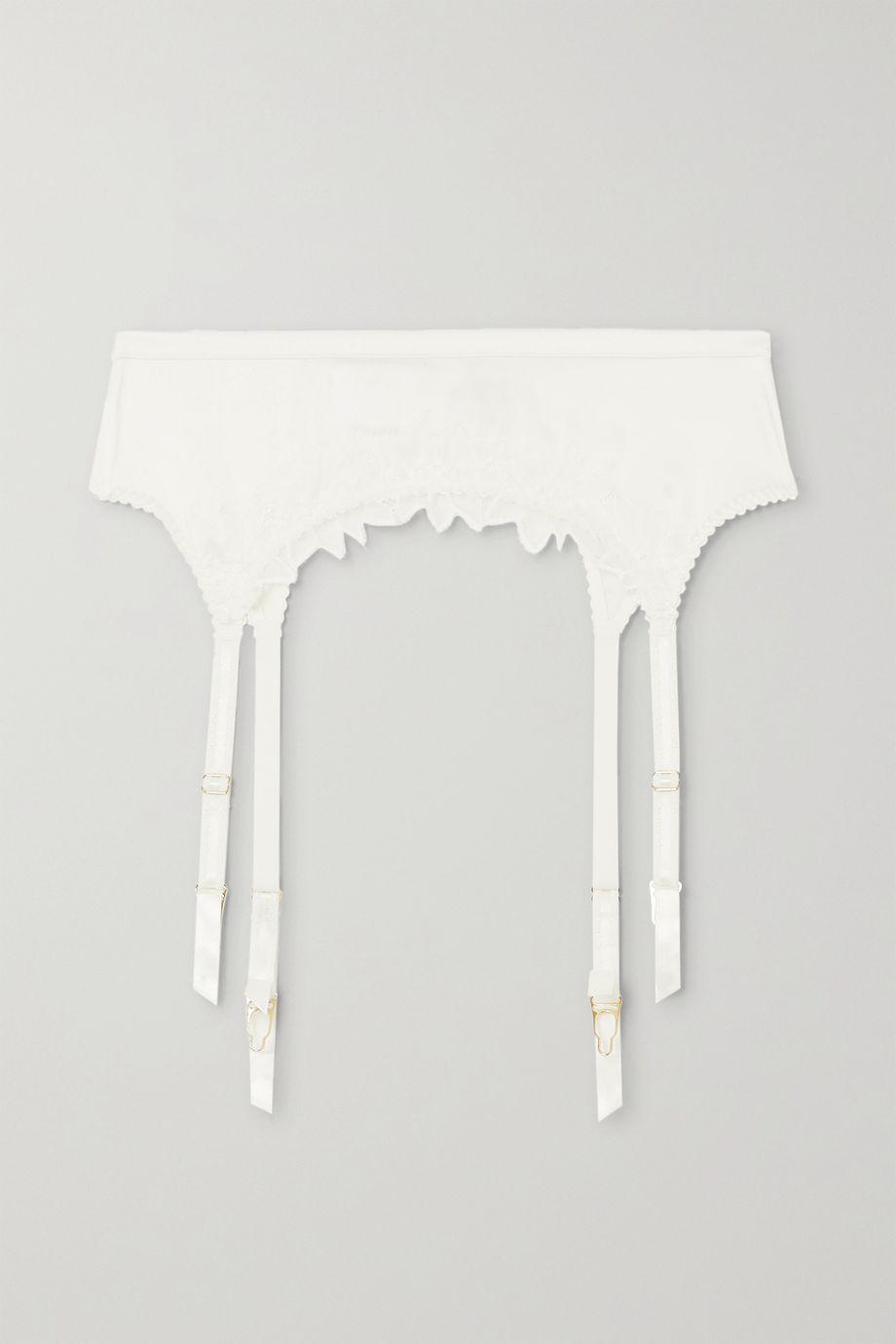 Myla Coleville Mews Leavers lace-trimmed silk-blend satin suspender belt