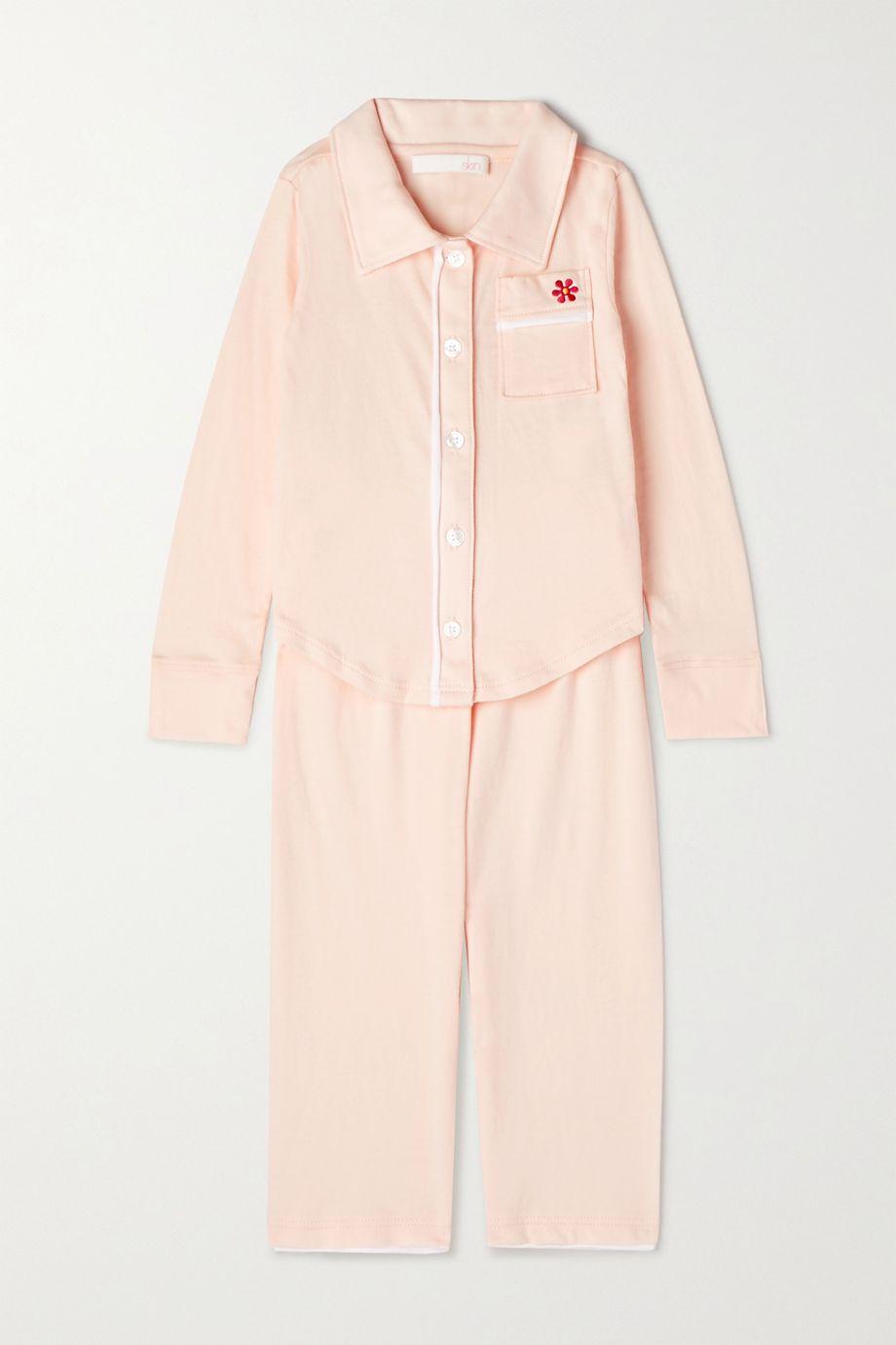 Skin Kids Piped embroidered organic Pima cotton-jersey pajama set