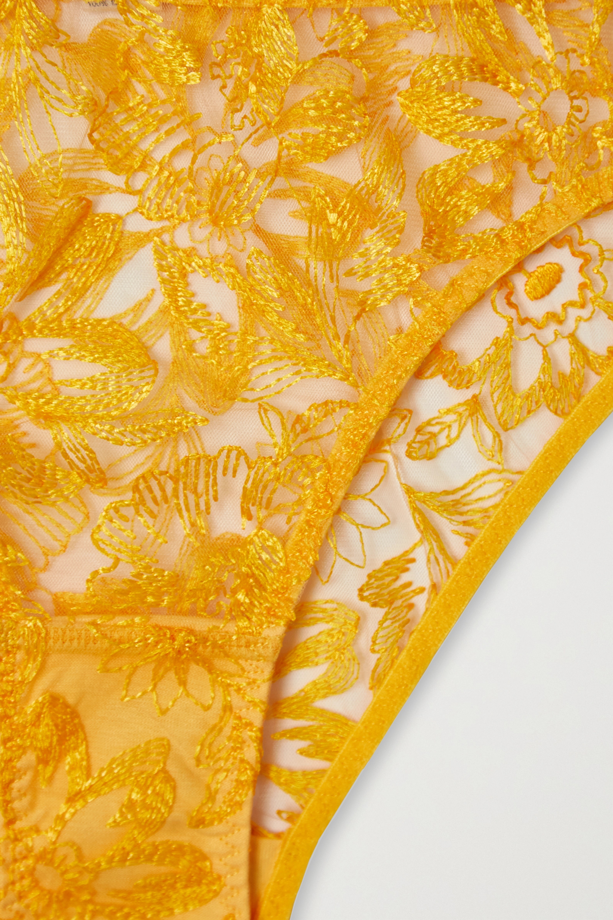 Yellow Columbia Road Embroidered Tulle Briefs   Myla