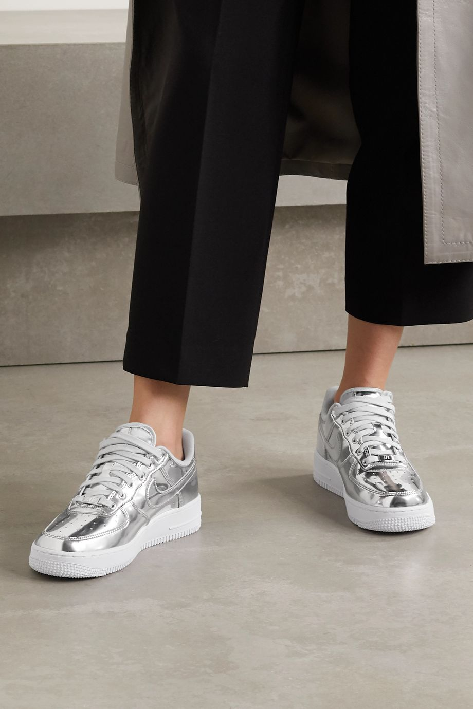 Nike Air Force 1 metallic faux leather sneakers