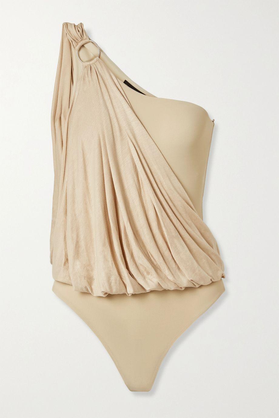 Marika Vera Lee one-shoulder draped stretch-jersey and mesh thong bodysuit
