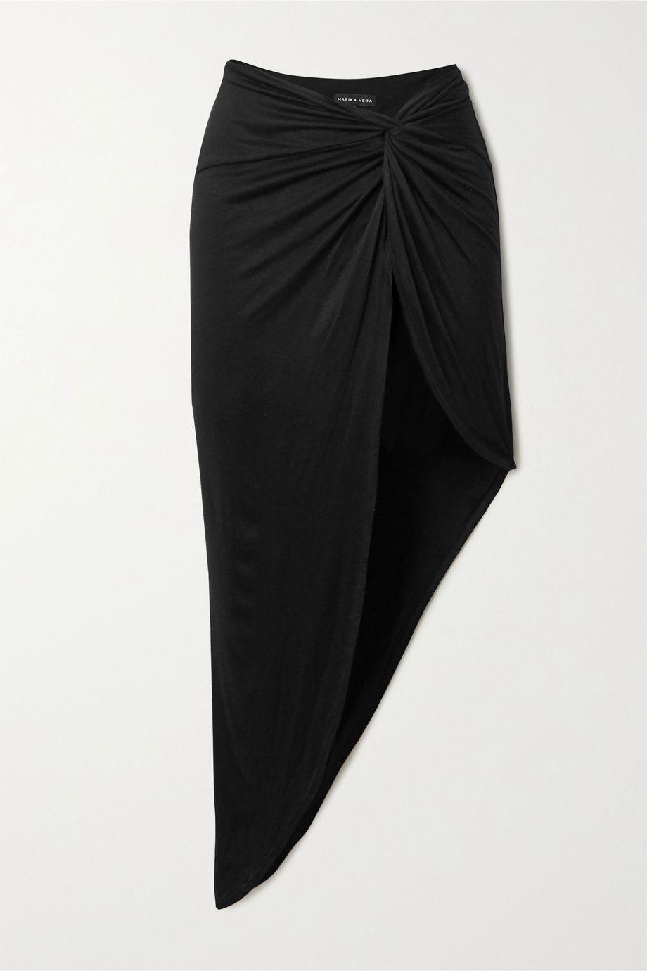 Marika Vera Grace knotted asymmetric stretch-jersey skirt