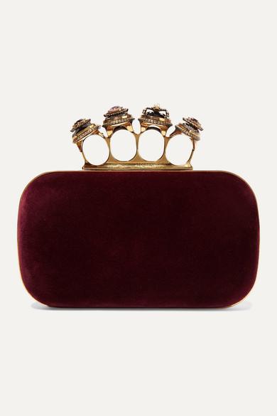 Alexander Mcqueen Clutch Four Ring embellished velvet clutch